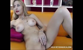 Blonde MILF Squirting on Sofa