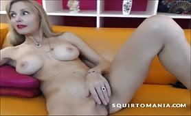 Mature Cougar Mom Squirting over SOFA