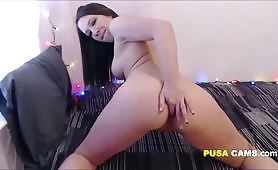 Sweet Big Ass Brunette Twerks Fucks her Tight Cunt