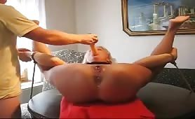 Spread-Legged Berlin Old Whore Squirts Loud