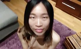 Chinese slave gives me head and I cum in her mouth POV